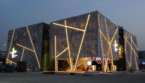 自然和人类和谐生活的创意方案,瑞典馆的设计就是由这三个关系启发的.图片