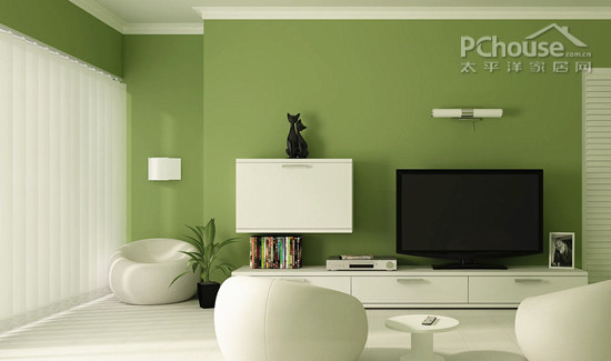设计重点:绿色背景墙