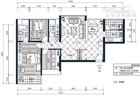 小,属于紧凑型的小三房.   户型分析:   原始户型图:   设计高清图片