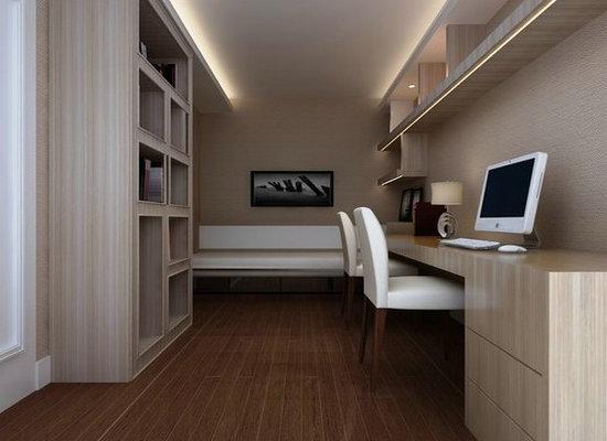 兼具客房的书房,设计师设计深卧榻作为卧眠使用.