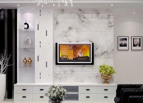 电视墙搭配tips:大理石与镜子拼接,时尚豪华.