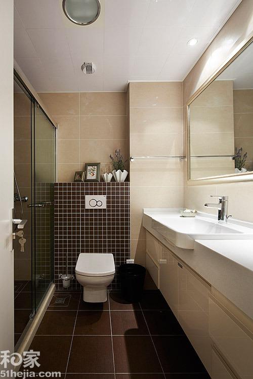 卫生间装修高清大图 卫生间装修高清大图-同一色系大瓷砖和马赛克的