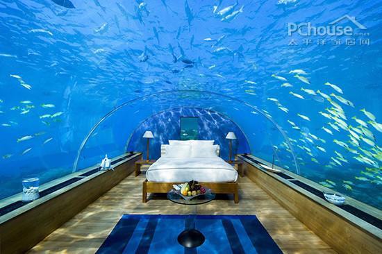 如果你有需求,这个海底餐厅还可以变成一个私人海底卧室,你可以在床上