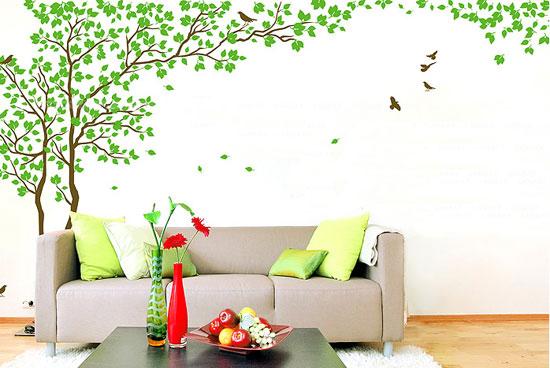 情侣树浪漫沙发背景墙贴