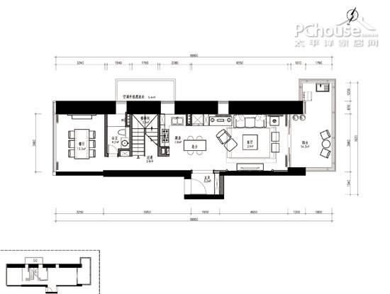 140平米 長方形戶型平面設計圖展示