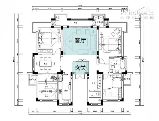 窄型   用心设计:屏风,入墙式鞋 客厅虽方正,但存在拐角、入门及