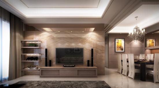 设计重点:茶镜电视墙         编辑推荐:大理石墙上方缀以茶镜与展示
