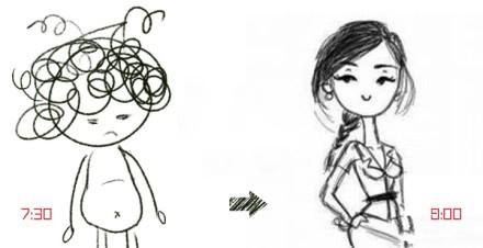 情侣简笔画手绘一对 接吻