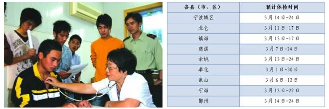 宁波2017年普通高校招生体检时间公布